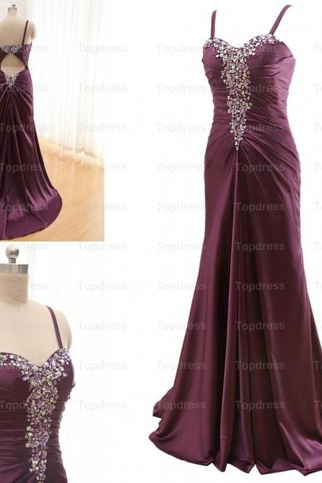 Purple Sexy Evening Dresses,2015 Formal Party Dresses,Popular Evening Dresses,Sexy Mother Dresses with Backless,Crystals Evening Dresses