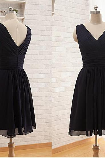 V neck Short Bridesmaid Dresses 2015 Cheap Hot sale Pleats A line Chiffon Mini Party Dress Cocktail Dresses Women Dresses