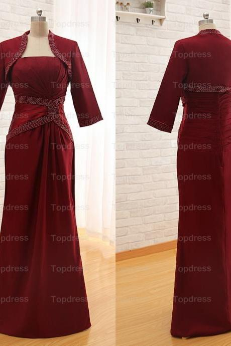 Deep Red Fashion Evening Dresses 2015 Sheath Strapless Beading Pleat Long Satin Mother of the Bride Dresses With Jacket,Party Dresses