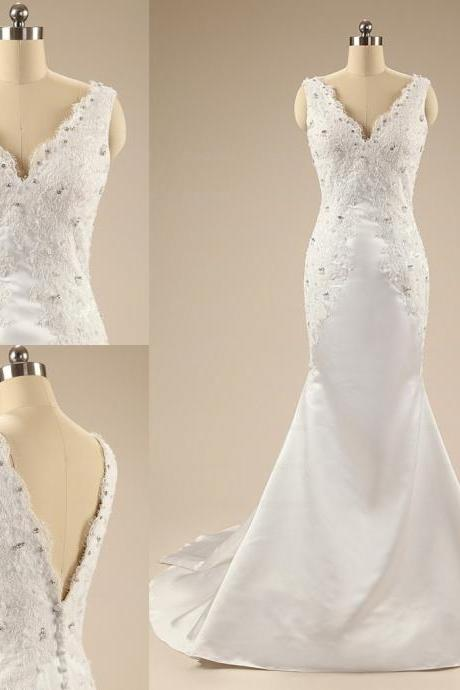 2016 Custom made Long Mermaid Wedding Dresses V-neck Lace Beaded Backless Bridal Dresses Gowns for Wedding