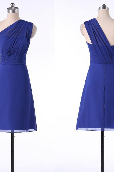 Royal Blue Chiffon One-Shoulder Ruched Knee Length A-Line Homecoming Dress, Bridesmaid Dress, Formal Dress