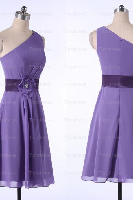 Romantic Purple Simple Short Chiffon Bridesmaid Dresses 2015 One Shoulder Flower Sashes Knee-Length Party Dresses Prom Gowns