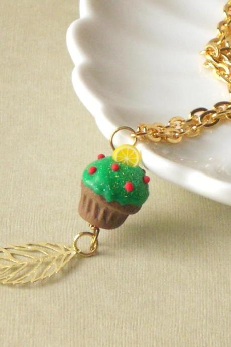 Christmas tree cupcake necklace, in green, red, yellow and brown, gold filled, polymer clay food