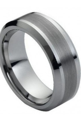 Tungsten Carbide Ring Brushed Center 8mm