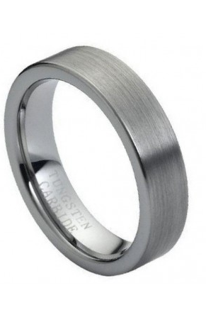 Tungsten Carbide Ring, Brushed Polished Flat Pipe Cut Style 6mm