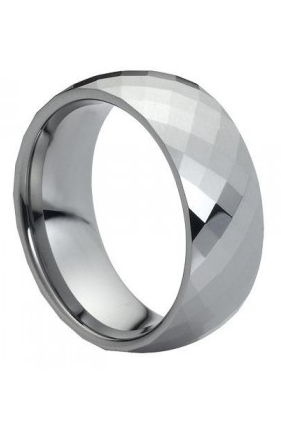 Tungsten Carbide Domed Faceted Ring 8mm