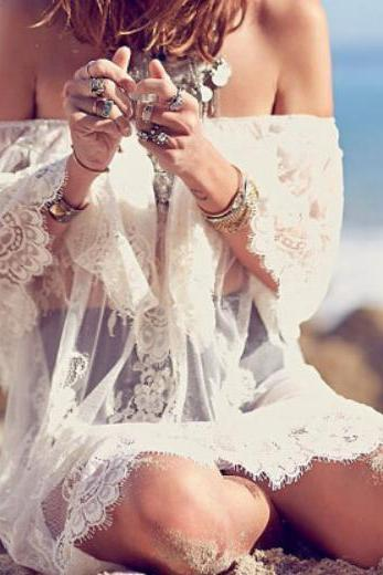 BEACH OFF-THE-SHOULDER PERSPECTIVE ALL LACE DRESS