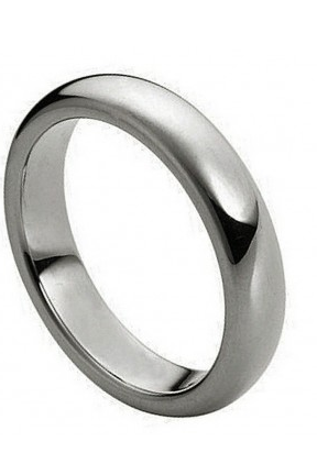 Tungsten Carbide Polished Shiny Domed Ring 4mm