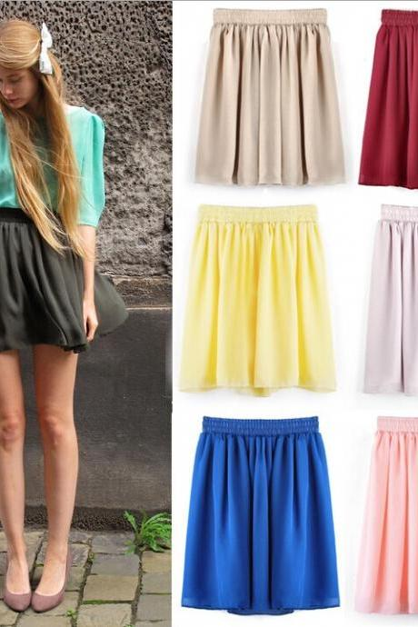 Spring retro high waist pleated double layer chiffon skirt skirt skirts
