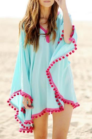 Free shipping Casual Light Blue Batwing Sleeve Asymmetric Blouse