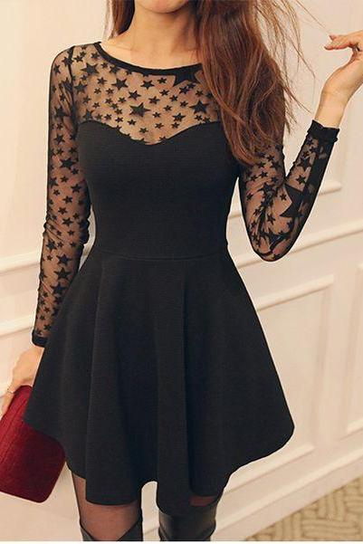 Cute Black Star Pattern Long Sleeve Dress skirt