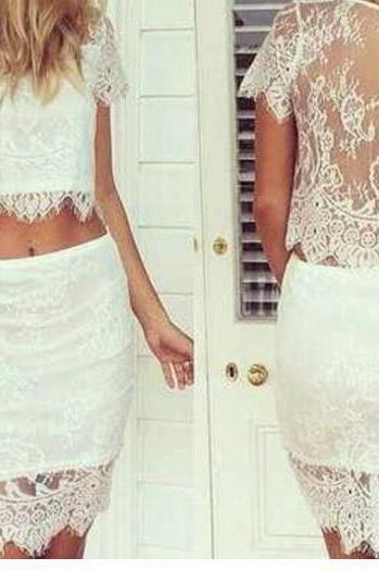 Fashion Lace Two Piece Dress skirt