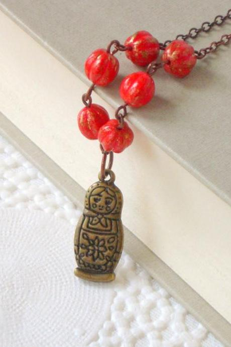 Red beauty necklace - 'Treasures' collection, Matryoshka Charm necklace, vintage style jewelry