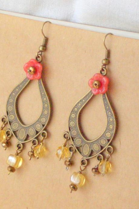 'Gitana' earrings - 'Treasures' collection, Gypsy boho jewelry, coral red flower amber yellow