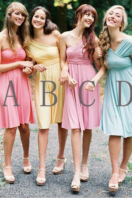 Bridesmaid dress, short bridesmaid dress, chiffon bridesmaid dress, bridesmaid dress, custom bridesmaid dress, knee-length bridesmaid dress, cheap bridesmaid dress, BD383