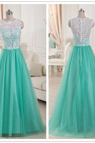Ivory lace and mint green tulle sleeveless A line floor length long bridesmaid dress