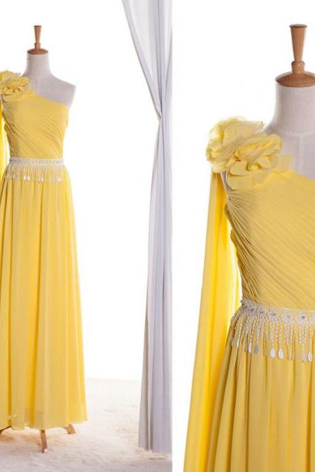 One shoulder yellow chiffon and ivory lace A line floor length dress with handmade flowers dress bridesmaid