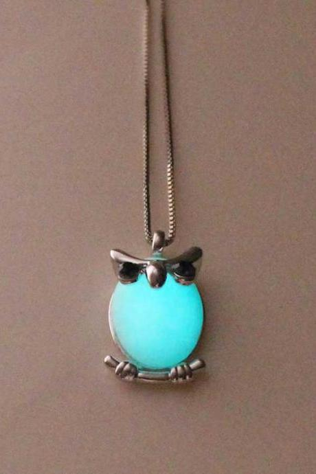 Free Shipping Turquoise Owl Glowing Necklace,Gifts For Her,Gifts For Him,Birthday Gifts