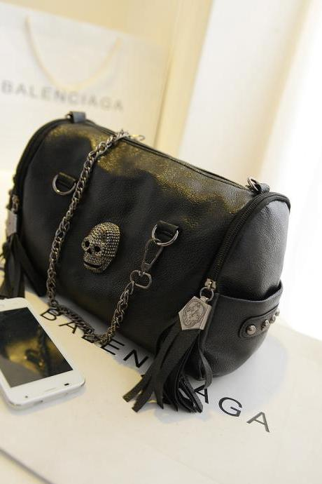 Womens PU Rivets Skull Studded Handbag Black Gothic Cool Motorcycle Small Bag S2