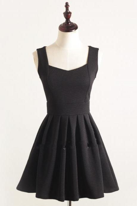 Elegant Black Short Summer Dresses in Stock, Black Summer Dresses, Black Dresses