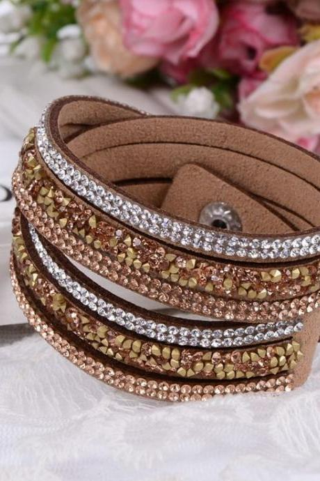 Multi Layer Rhinestones Brown Dress Party Girl Bracelet