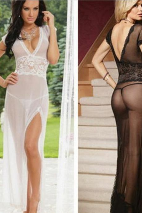 *Free Shipping* plus size lace Transparent Net Yarn erotic costumes underwear dress summer style women nightwear dresses hot sexy lingerie