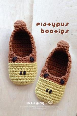 Platypus Baby Booties Crochet PATTERN (Pdf) by kittying