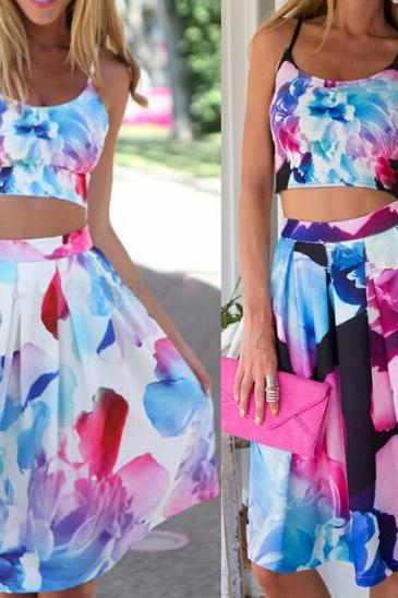 Sling Printed Sleeveless Two-Piece Dress JH