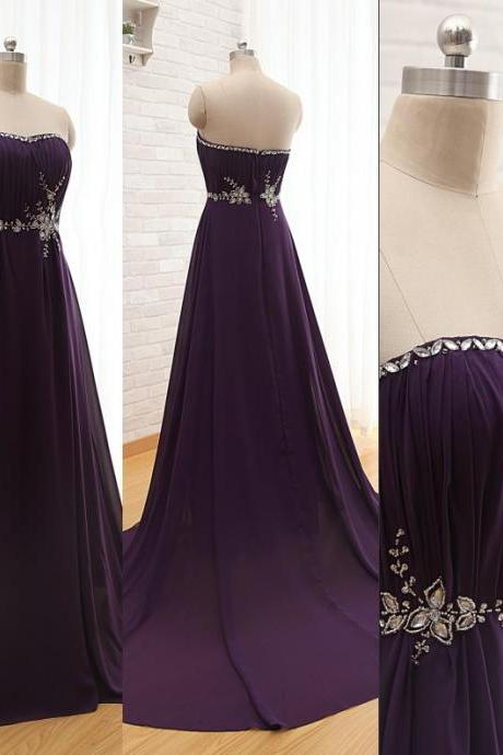Elegant Purple Long Chiffon Formal Party Dresses 2015 Strapless Beaded crystals Evening Dresses Elegant Women Gown
