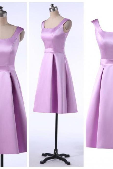Elegant 2016 New Short party Dresses A-line Scoop Spaghetti Backless Satin Bridesmaid Dresses Evening Dresses