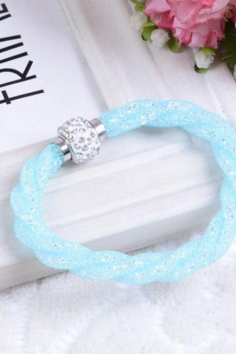 Casual Rope Chain Rhinestone Sky Blue Woman Bracelet