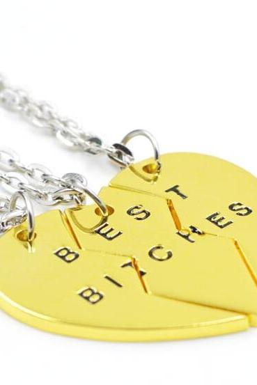 Best Bitches Best Friends Gold Color Split Heart 3 Piece Necklace Set