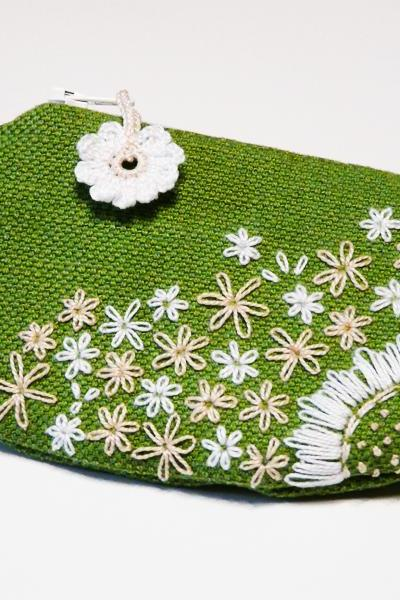 Embroidery green purse White and beige flowers Unique pouch