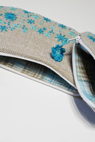 Embroidery purse Turquoise flowers 1 pair Pouch Cluth Wallet Cosmetic bags