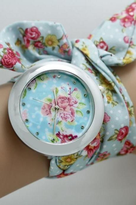 Blue floral cloth strap teen girl watch