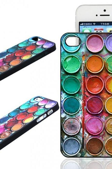 *Free Shipping* New Fashion Cool Color Paintbox Custom Painted Hard Plastic Protective Phone Case Cover For Iphone 4 4S 5 5S 5C 6 6 Plus