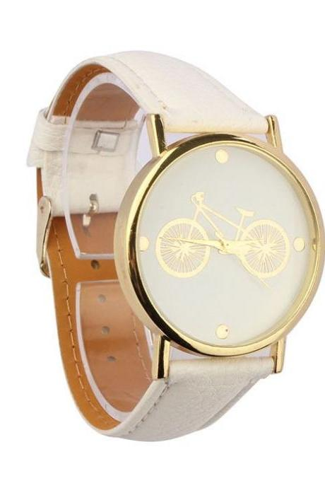 Unisex bicycle PU leather white band casual watch