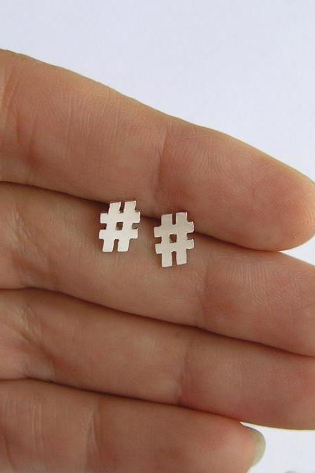Sterling Silver Hashtag Earrings - Twitter Earrings - hash symbol studs