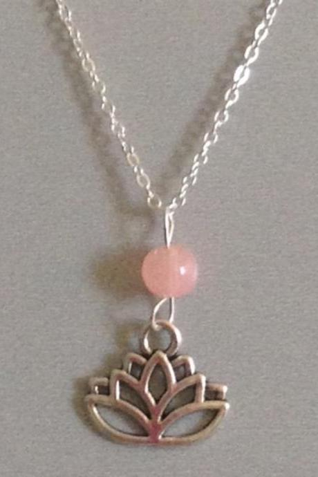 Lotus flower rose quartz sterling silver filled necklace, ohm om yoga namaste.