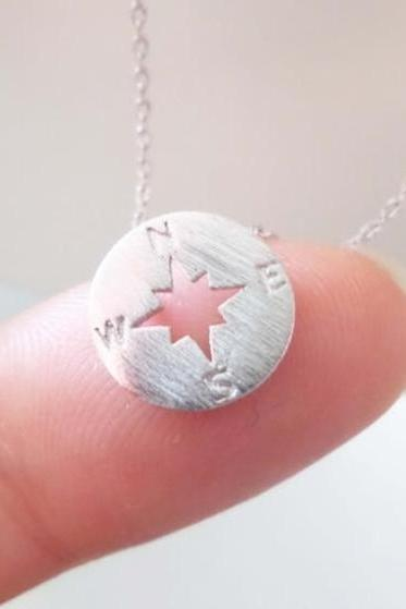 New Tiny circle disk necklace, compass jewelry, compass necklace in Silver