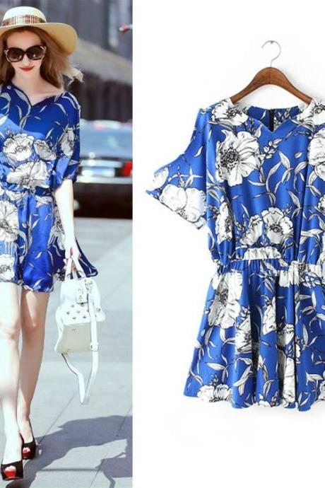New fashion Royal Blue printing Summer Dress,Fashion Dress ,TB-011