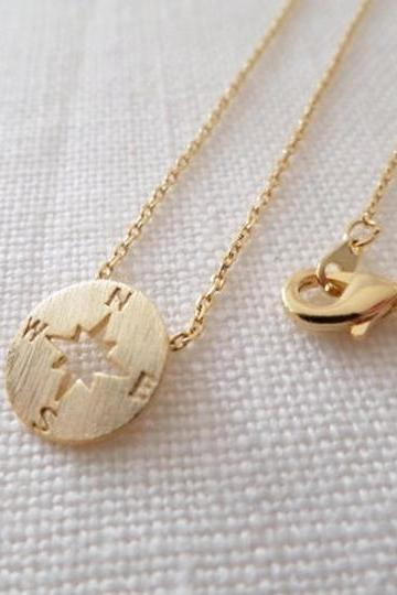 New Tiny circle disk necklace, compass jewelry, compass necklace in gold