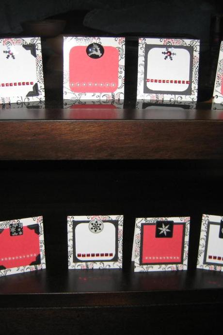 Holiday Placecard Set/Gift Cards, Set of 8 in a handmade decorative bag, RED, BLACK & WHITE winter theme