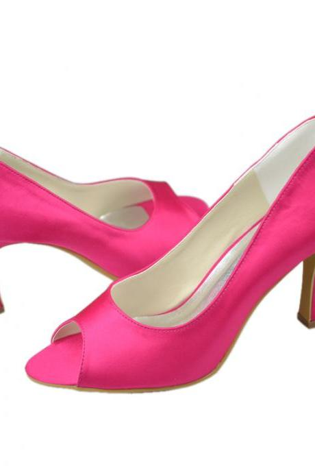 Hot Pink Silk Peep-Toe High Heel Stilettos, Bridal Heels
