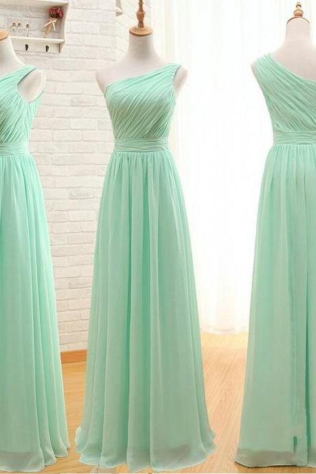 Custom made A Line Simple Elegant Cheap Long Mint Green Bridesmaid Dresses,Wedding Party Dresses,Chiffon Prom Dresses