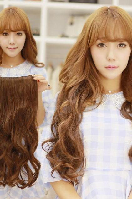 Women One Piece Clip in Synthetic 3/4 Full Head Long Hair Extensions Straight Curly Wigs