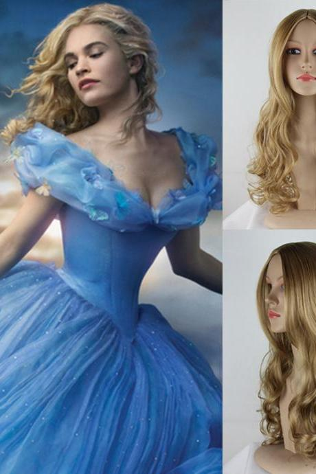 Movie Princess Cinderella Long Curly Ash Blonde Sintetico Kanekalon Pelucas Anime Cosplay Wig