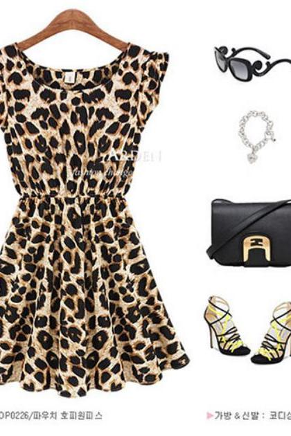 CLASSY CUTE HOT LEOPARD SHORT SLEEVE DRESS