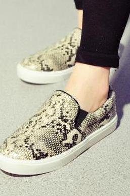 Round-Toe Embossed Flat Slip-On Sneakers