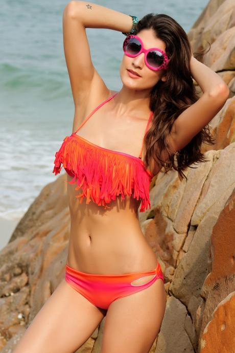 High Quality Sexy Tassels Embellished Bikini - Orange & Rose